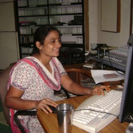 Narsamma runs a village radio station emphasizing social and economic developments.