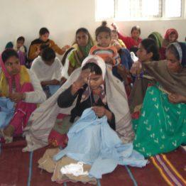 SEWA Embroiderers in Kaliwada village work together.
