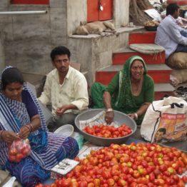 Rajiben sells produce at a market in the city of Ahmedabad.