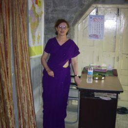 Sheila wears a sari to celebrate opening of school for girl child labourers.