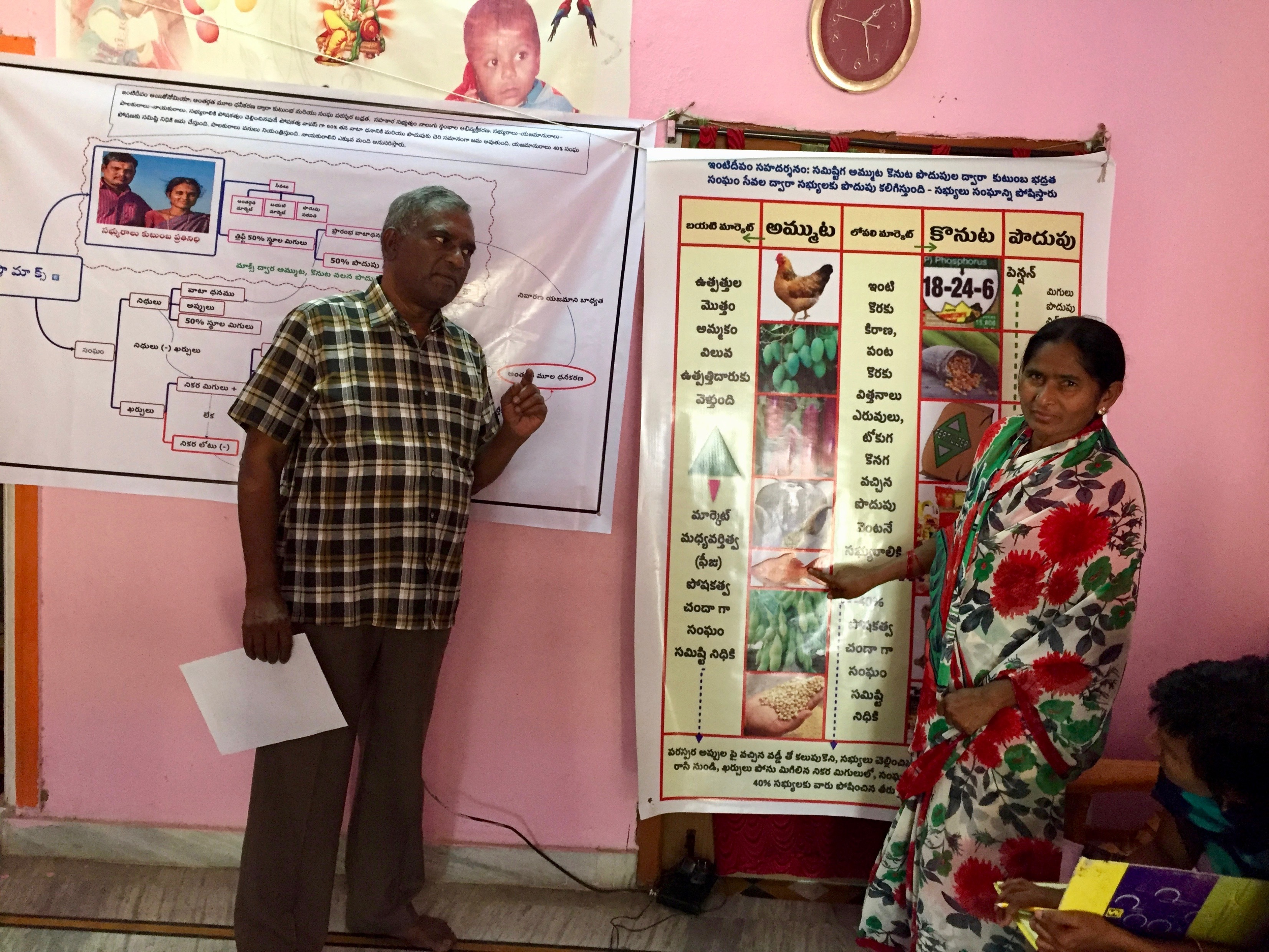 Imtiyaz Begum, head of the Boregaon village cooperative, explains with facilitator Samson Nakkala the process of selling crops through a women's run agricultural cooperative
