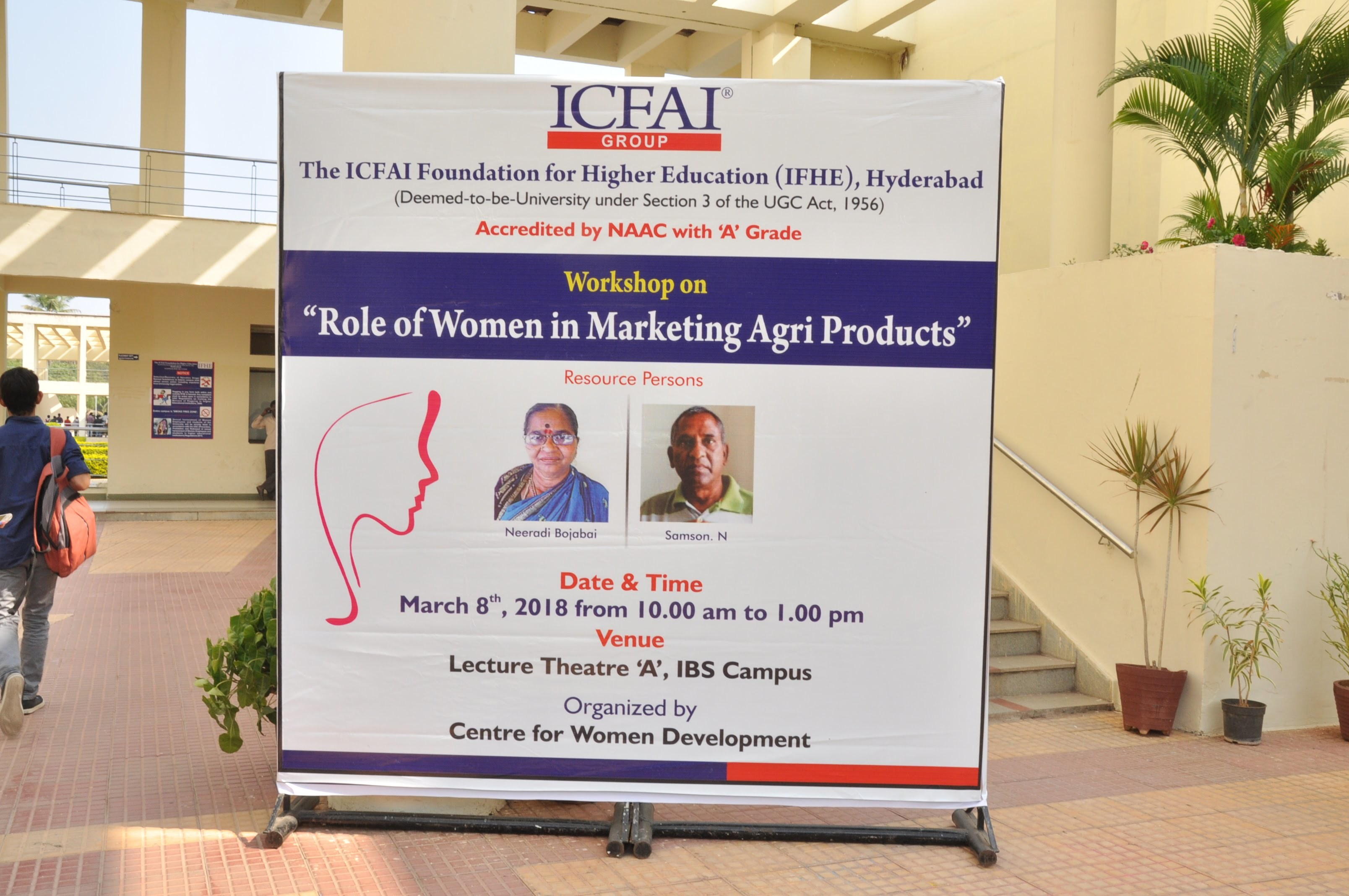 Neeradi Bojabai head of the federation of village cooperatives selling agricultural products, and facilitator Samson Nakkala spoke at a workshop at a university about the role of women in marketing agricultural products